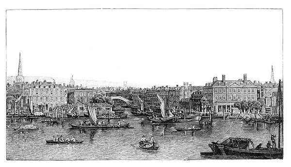 The Fleet River and River Thames London in the 18th century; Black and White Illustration;
